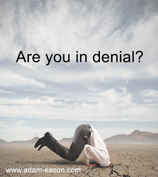 Are you in denial? Read about how to get over being in denial.